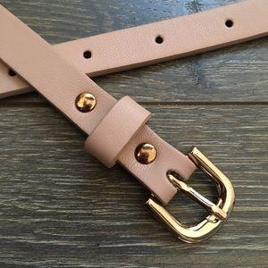 Light Pink Gold Accent Skinny Belt